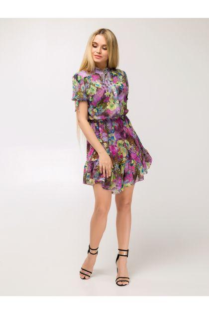 """Платье """"Нимфея"""" (мультицвет/розовый)"""