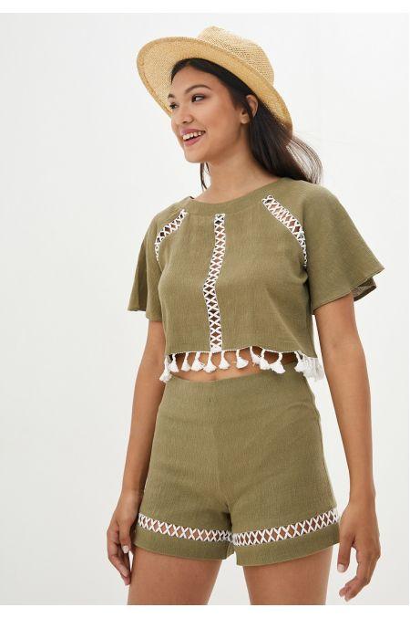 """Блуза """"Тесса"""" (оливковый хаки)"""