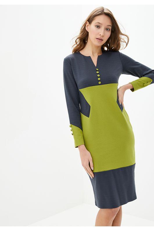 """Платье """"Фьюри"""" (т.серый+оливковый)"""