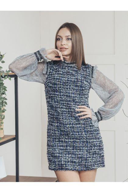 "Платье ""Лаура"" (темно-синий+серый)"