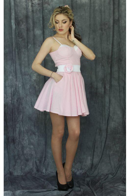 """Платье """"Сьюзи"""" (белый+розовый)"""