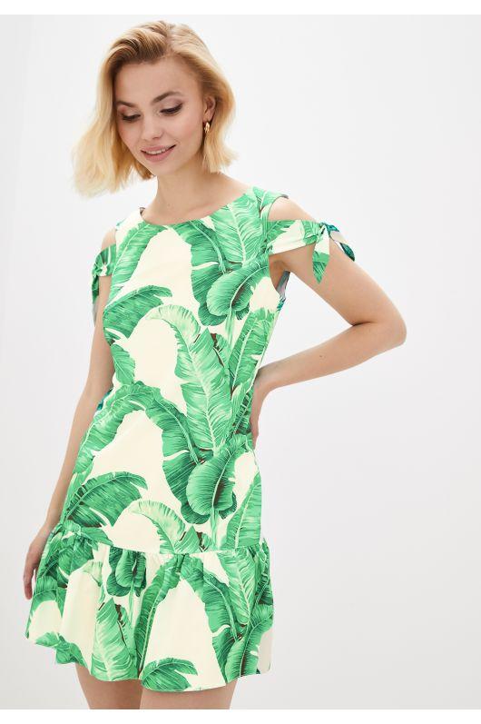 """Платье """"Мальта"""" (белый+зеленый)"""
