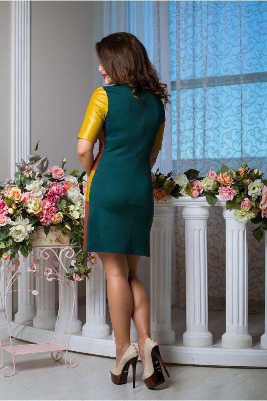 """Платье """"Неаполь"""" (зел. сапфир+терракот+фисташковый)"""