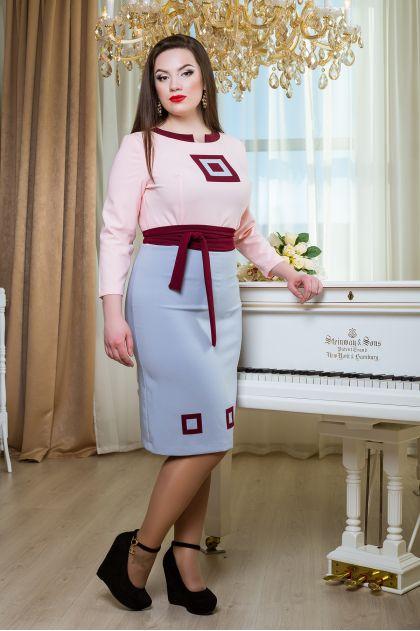 """Платье """"Интуиция"""" (розовый+сероголубой)"""