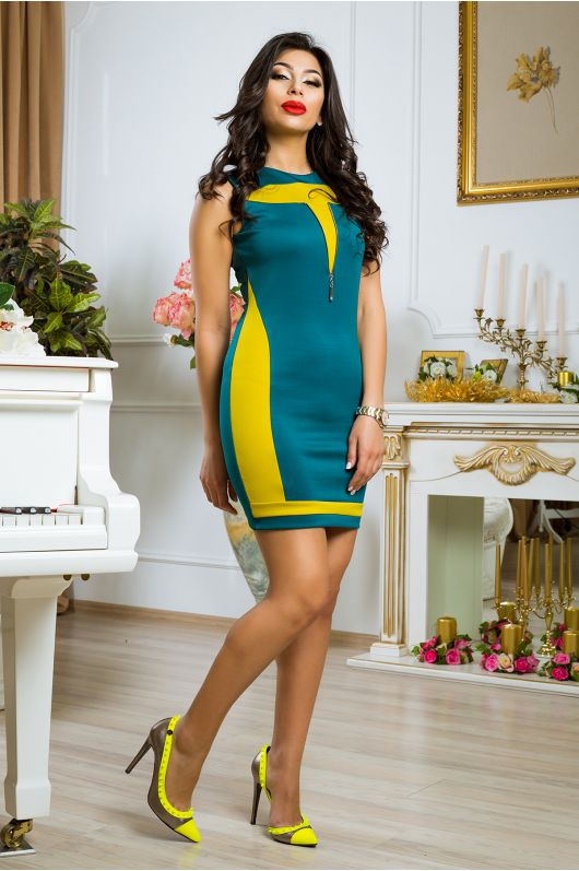 """Платье """"Паулина"""" (зел. сапфир+ фисташковый)"""