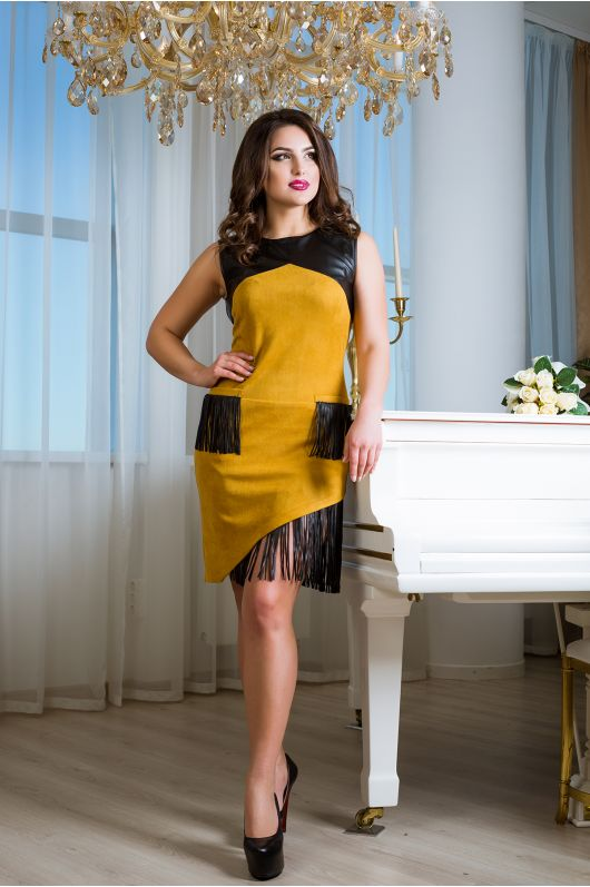 """Платье """"Джемма"""" (горчица+черный)"""