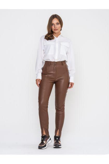 """Кожаные брюки """"Теренс"""" (коричневый)"""
