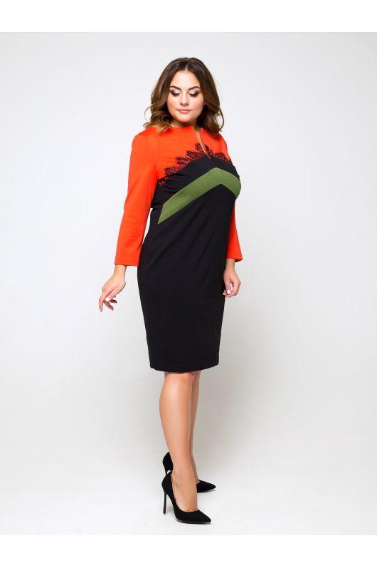 """Платье """"Эрлин"""" (черный+морковный)"""